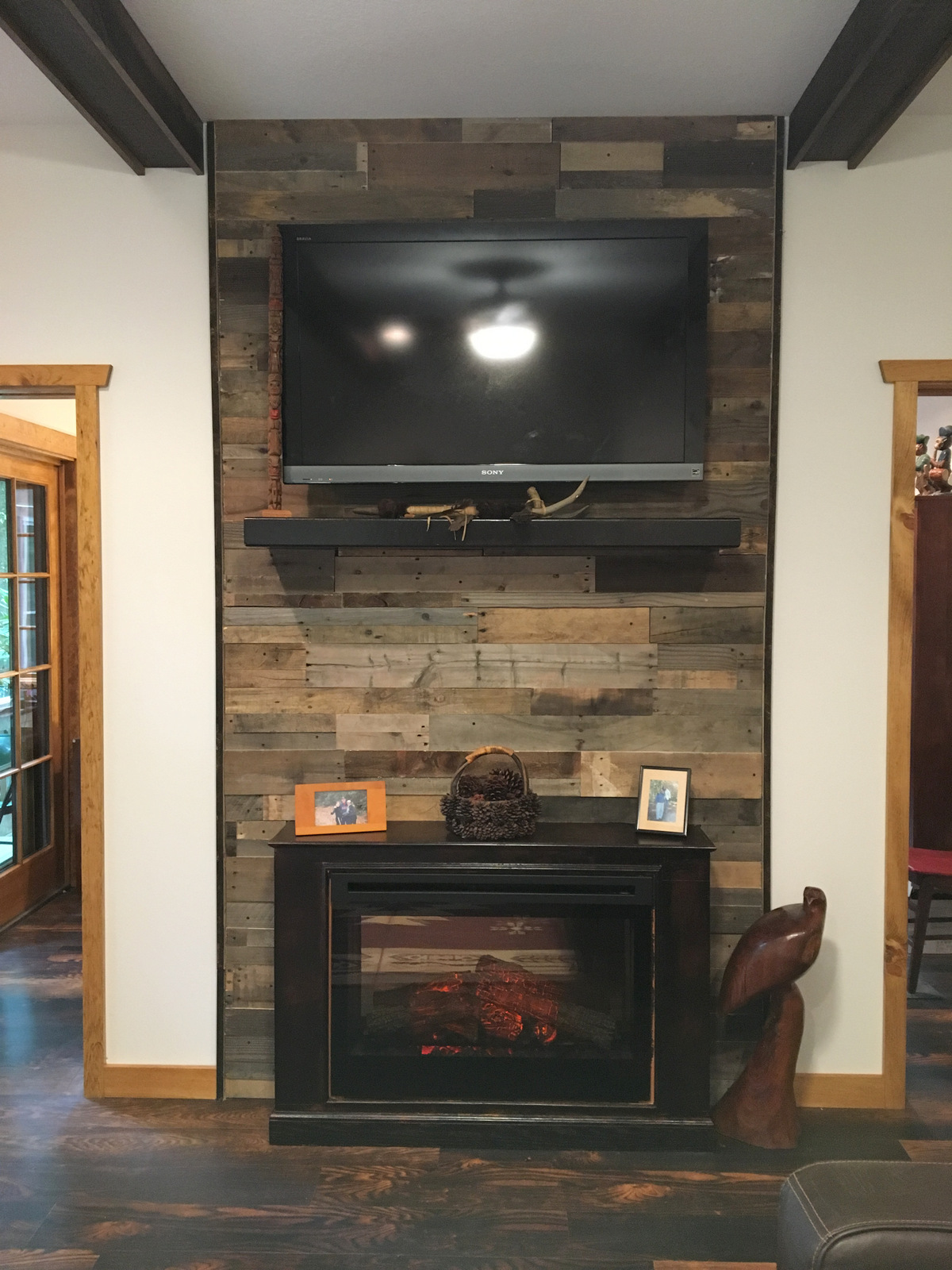 Pallet Wood fireplace surround - Sustainable Lumber Company