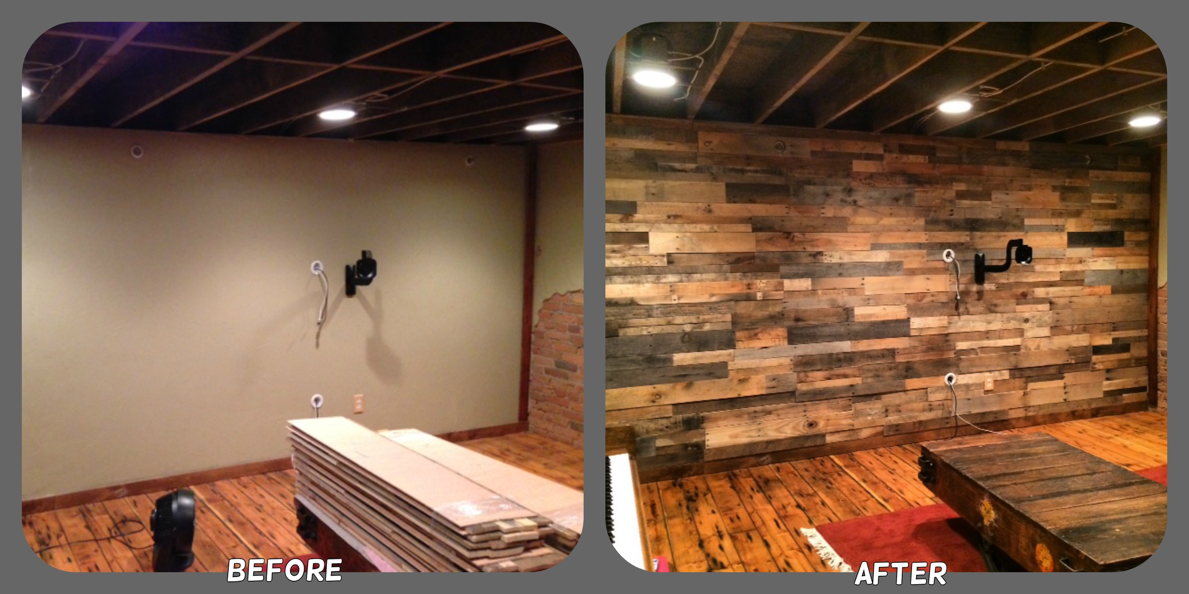 recycled pallet wood accent wall - sustainable lumber company