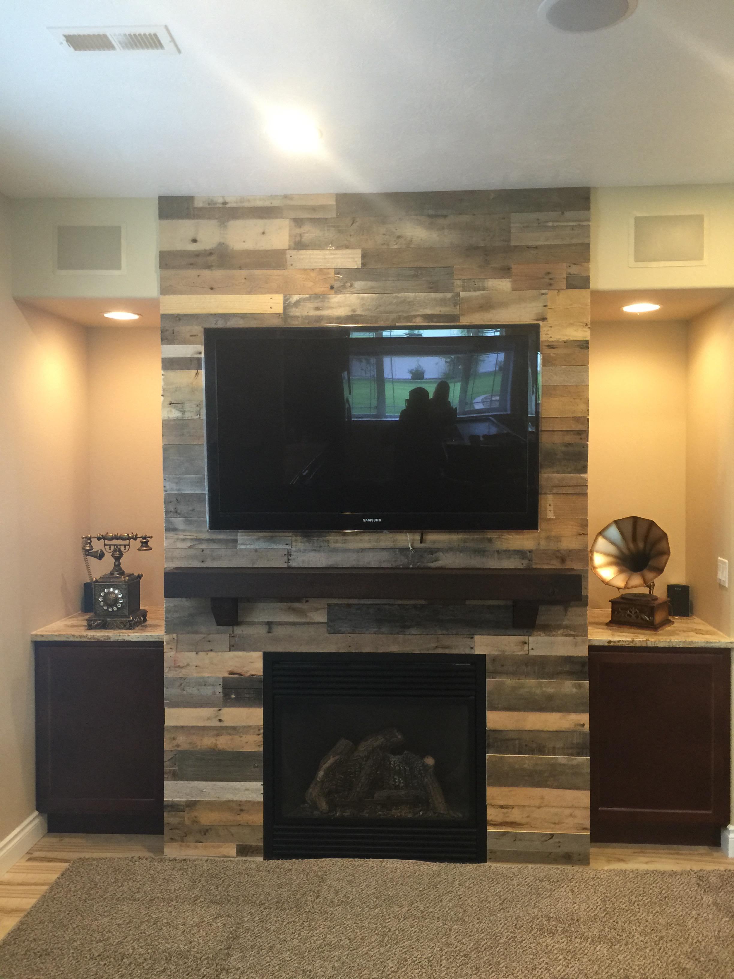 Pallet Wood Wall Fireplace