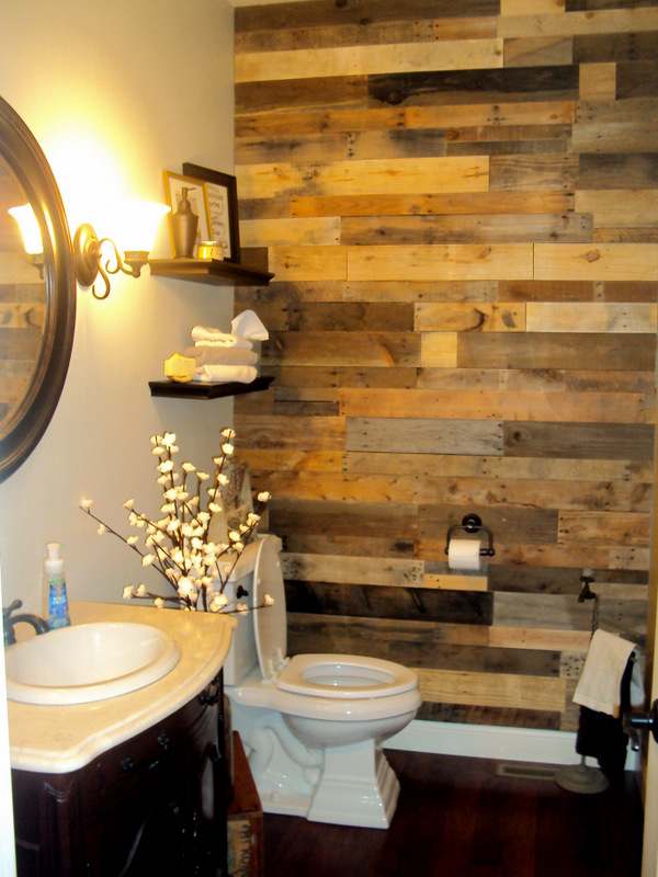 Pallet wood accent wall sustainable lumber company - Wooden pallet accent wall ...