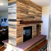 blue stain pine fireplace
